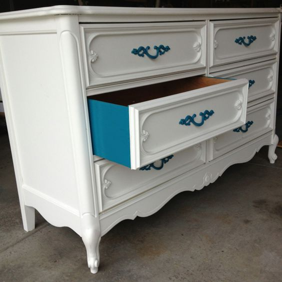 Dresser Decor White Chest of Drawers Blue Drawers and Drawer Pulls DIY