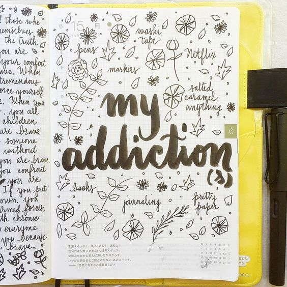 Inspiration for a journal page: list all your addictions: