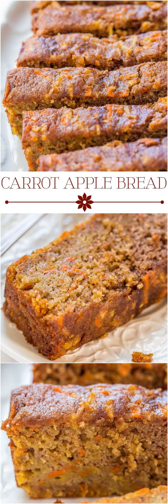 Carrot Apple Bread Recipe via Averie Cooks - Carrot cake with apples added and baked as a bread, so it's healthier! Super moist, packed with flavor, fast and easy!!