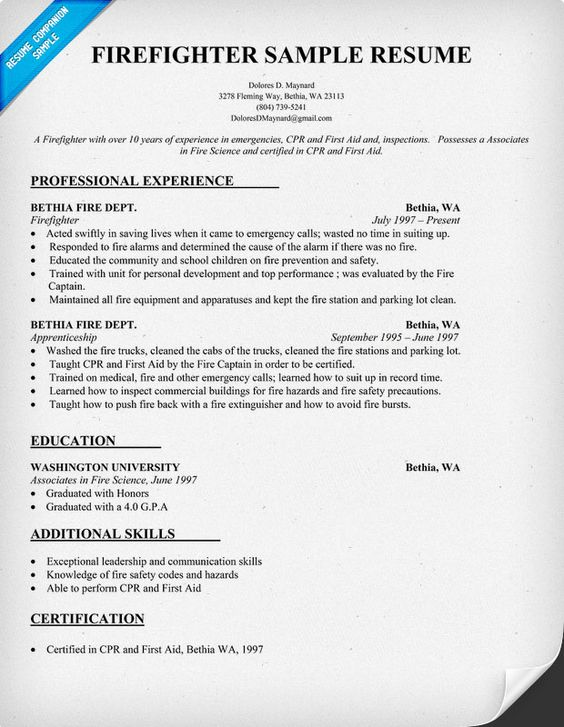 firefighter resume resume and firefighters on pinterest