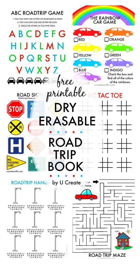 "Free Printable Dry ERASABLE Road Trip Book for Kids | U Create ""Awesome idea for traveling with kids!"""