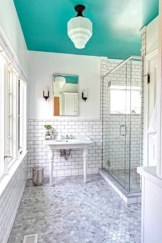 Dip a Toe Into Bold Color: Painted Ceilings in the Bathroom | Apartment Therapy: