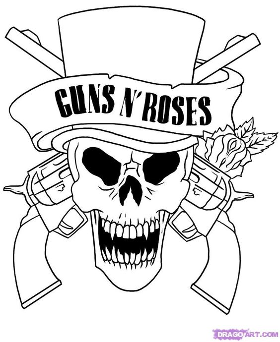 guns n roses coloring pages and guns on pinterest