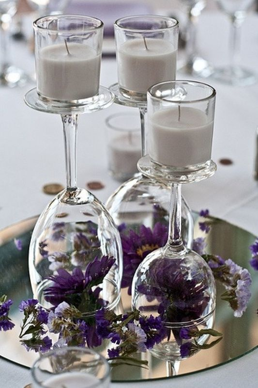 #purple wedding table centrepiece ... For a Reception Guide ... https://itunes.apple.com/us/app/the-gold-wedding-planner/id498112599?ls=1=8 ... plus how to organise your entire wedding ... The Gold Wedding Planner iPhone App ♥: