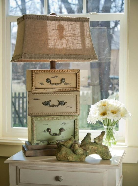 16 fabulous ways to repurpose old dresser drawers - make a lamp