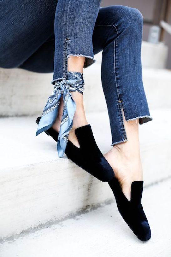 Sapato - Mule - Flat - Veludo - Preto: