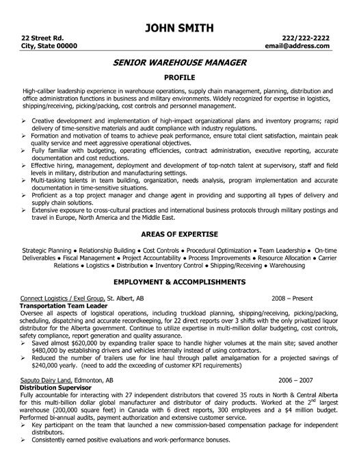 resume warehouses and resume examples on pinterest