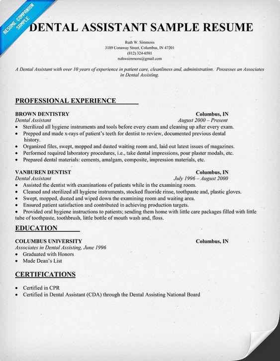 dental assistant dental and resume on pinterest