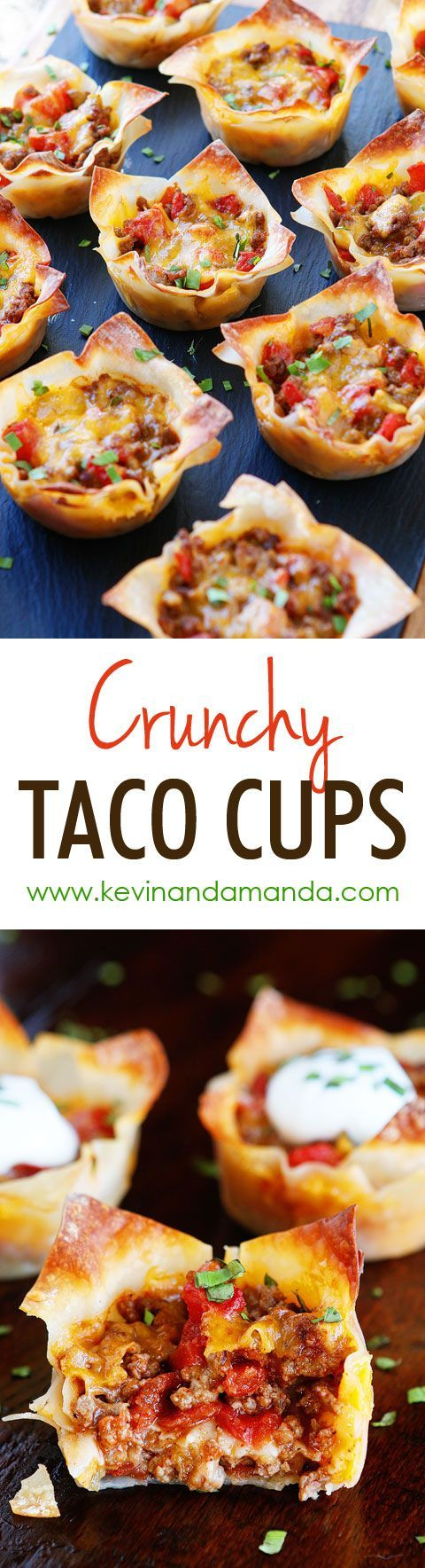 These fun Crunchy Taco Cups are made in a muffin tin with wonton wrappers!  Great for a taco party/bar. Everyone can add their own ingredients and toppings! Crunchy, delicious, and fun to eat!! via Kevin & Amanda