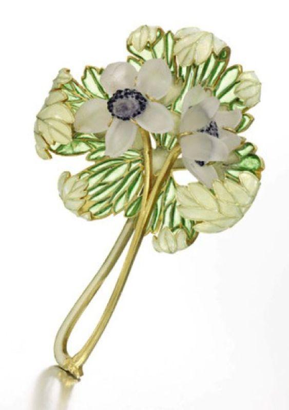 René Lalique Anemones Brooch, plique-à-jour enamel, pearl, c. 1910: