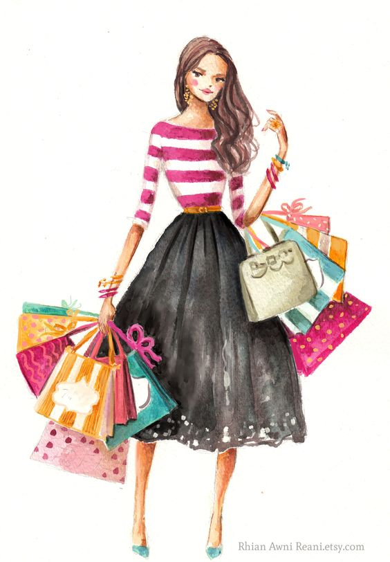 Fashion illustration girl shopping by Rhian Awni on Etsy: