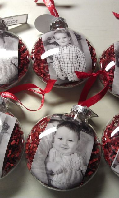 the pinner says: Super cute! I love giving ornament pictures of the kids each year to family and this is a perfect idea for preserving them.: