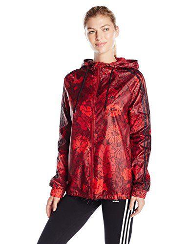 adidas Originals Women's Windbreaker, Red Floral, X-Small...: