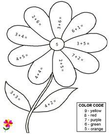 color by number based on color codes single digit math worksheet