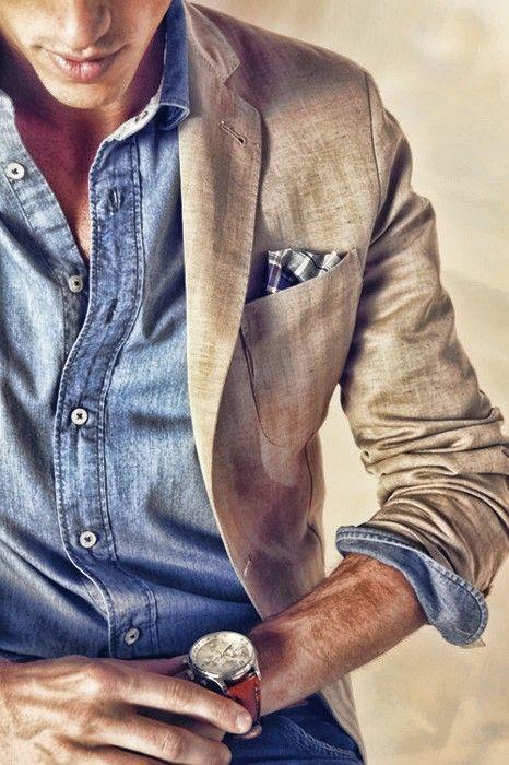 Denim Shirt... #style #fashion #suits #tie #shirt #watch: