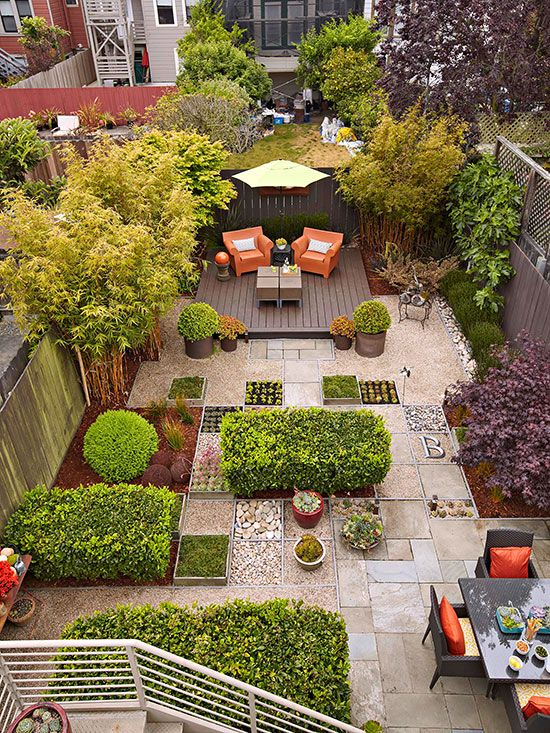 Use Every Square Inch - When you plan a no-mow backyard, it's important to put every square inch of space to work. For example, this urban lot is paved with tightly fitted flagstone pieces interspersed with small streams of river rock to create a natural, easy-care environment. A deck made from composite materials anchors the opposite end of the yard. Sheared evergreens and trees complete the setting.: