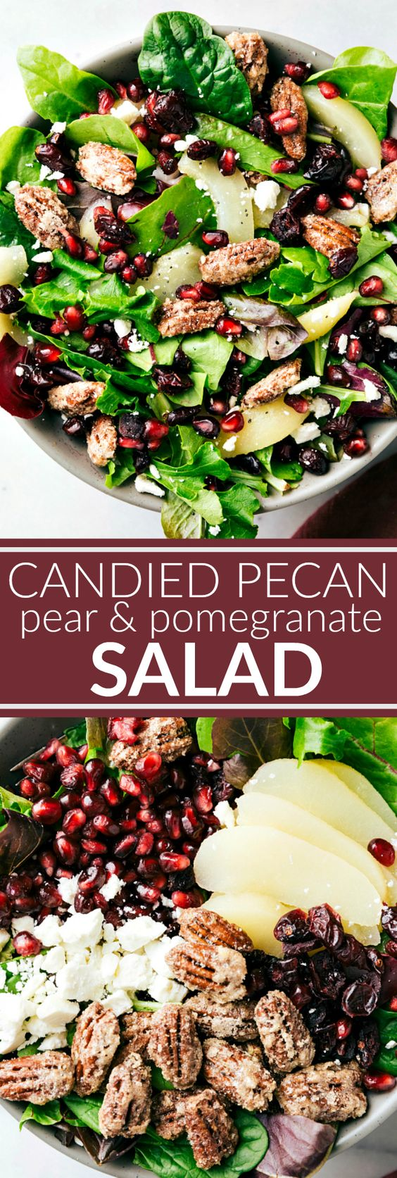Candied Pecan, Pear & Pomegranate Salad Recipe via Chelsea's Messy Apron - An easy to make and delicious side salad -- candied pecans, pears, pomegranates, dried cranberries, and feta cheese with a simple incredible raspberry poppyseed dressing
