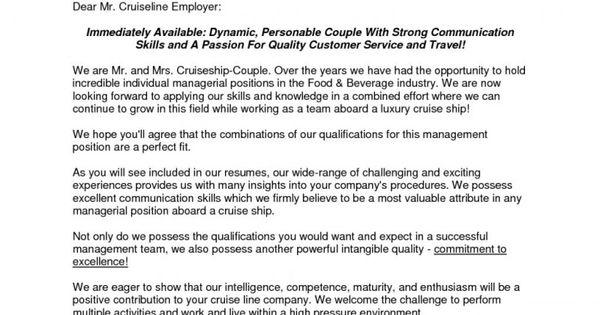 Resume Cover Letter Cruise Ship Letter Pinterest Resume Cover Letters Sample Resume Cover