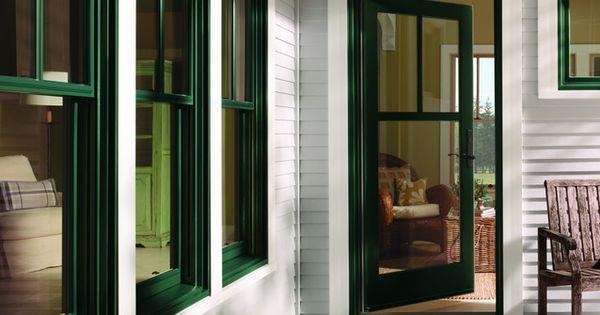 Andersen 400 Series Wood Clad Hunter Green Windows With