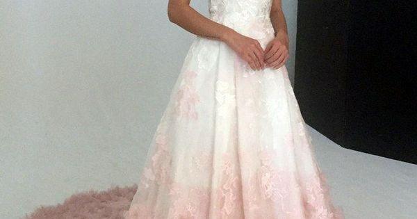 V-neck Silk Organza Ball Gown Wedding Dress With Blush