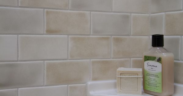 Matte Finish Variegated Color Subway Tile Bathroom
