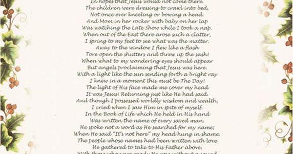 inspirational christian christmas poems twas the night before christmas
