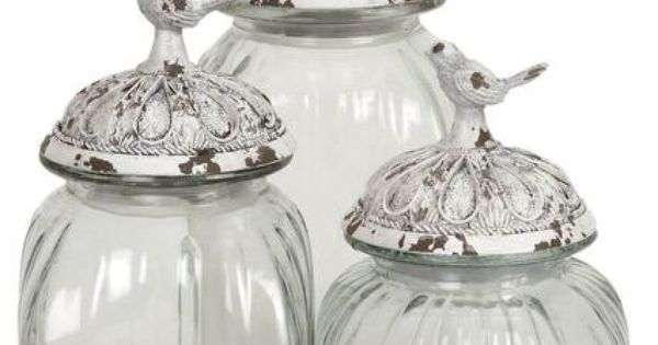 Set Of 3 Decorative Glass Jars With Polystone Bird Lid Clear Kitchen Canisters Kitchen