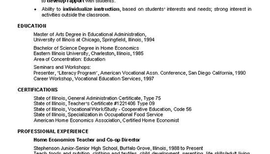 Home Economics Teacher Resume Example Resume Examples