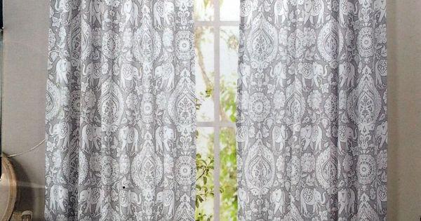 ENVOGUE Gray Elephant Medallions Window Curtain Panels Set Of 2 Drapes Pair 96 Gardens