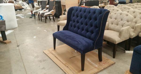 Upholstered Settee Navy Blue Microfiber Velvet Like