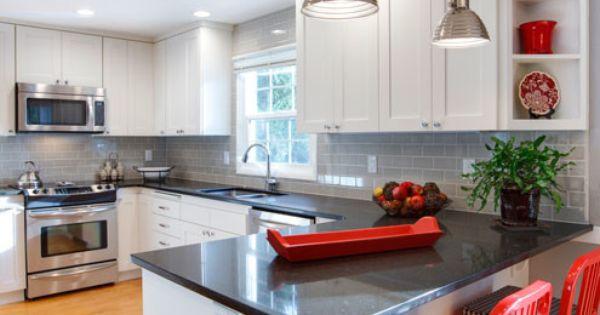 White Cabinetry, Gray Subway Tile And Belgium Moon Quartz