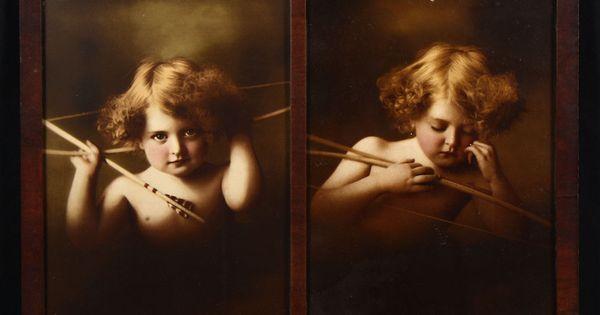 M B Parkinson 1897 Cupid Awake Cupid Asleep Framed Fine