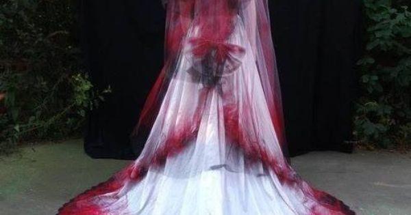 Gothic Red, White &black Wedding Dress With Veil.