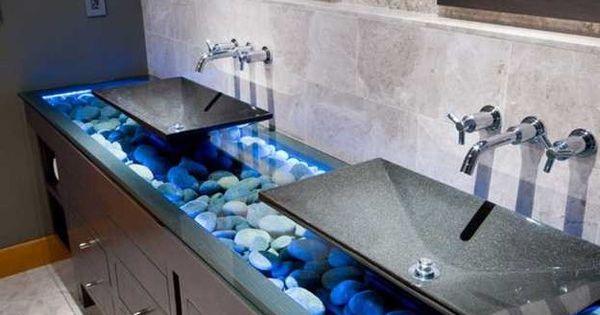 rocks in sink for decoration modern