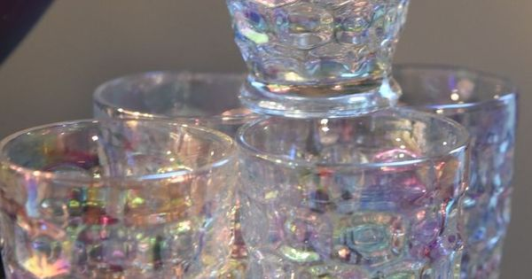 SET 6 THUMBPRINT IRIDESCENT DRINKING JUICE CUPS GLASSES