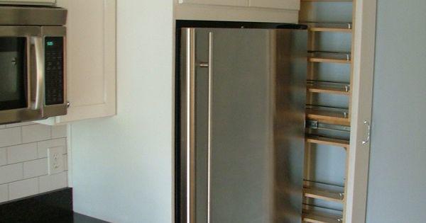 Collamore Built Full Length Spice Rack On Side Of Fridge