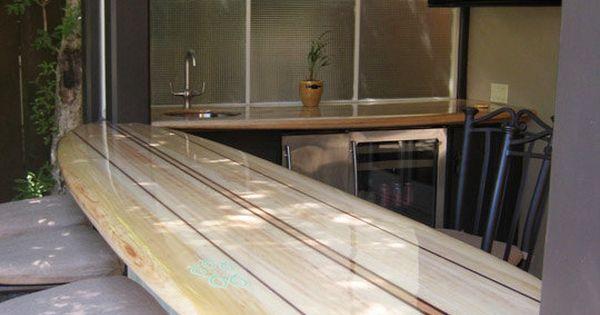 Surfboard Bar Top Backyard Tiki Bar Pinterest