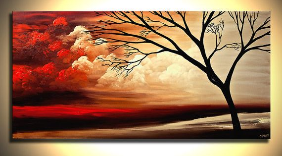 Original Red Landscape Painting On Canvas Tree Art Earth