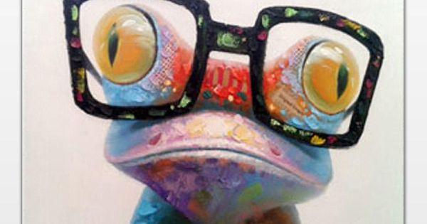 Happy Frog Wearing Glasses Cartoon Animal Hand Painted Oil Painting On Canvas Morden Abstract