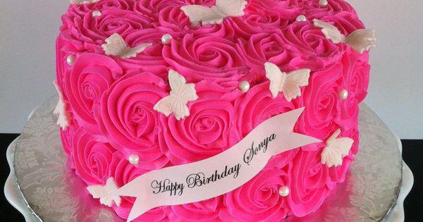Hot Pink Swirl Rose Birthday Cake With Fondant Butterflies