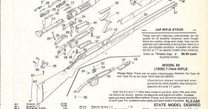 1992 JAPANESE ARISAKA RIFLE Schematic Exploded View Parts