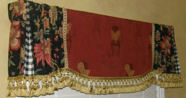 Custom VALANCE French Country Red Gold Rooster Tapestry Black Floral Tassel Trim Tassels