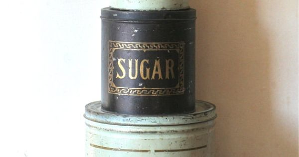 Vintage Rustic Tin Canisters Flour Coffee Sugar Shabby Country