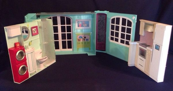 Barbie My House Fold Up Dollhouse Washer Dryer Kitchen