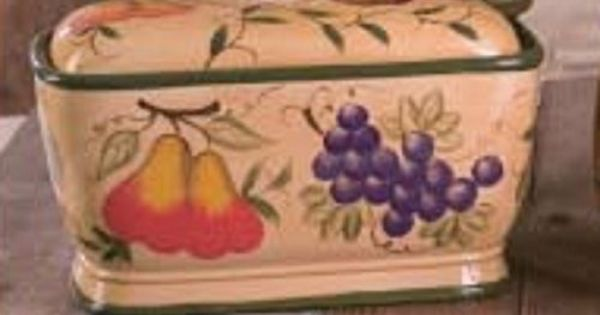 New STRAWBERRY Amp GRAPES CERAMIC BREAD BOX Apple Pear Kitchen Decor FRUIT Accent Bread Boxes