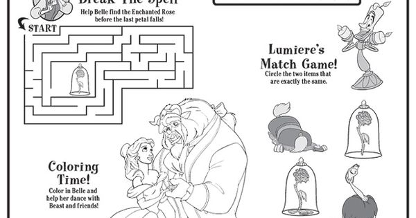 Beauty And The Beast Activity Sheets 1
