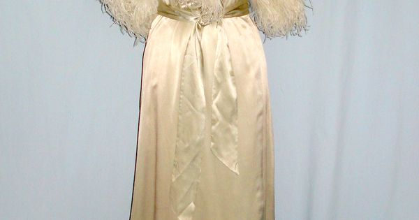 Silk Charmeause & Ostrich Feather Dressing Gown.