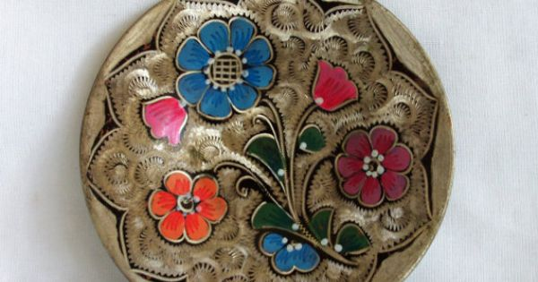 Wall Hanging Plate Vintage Copper, Hand Painted, Etched