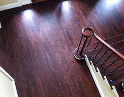 Red Oak With Grain Popped Duraseal Royal Mahogany Stain