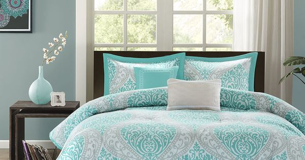 Beautiful Modern Chic Blue Aqua Teal Grey Tropical Beach